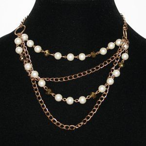 Gold chain and pearl layered necklace 16""